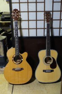 アコースティクギターのボディの大きさを比べてみた